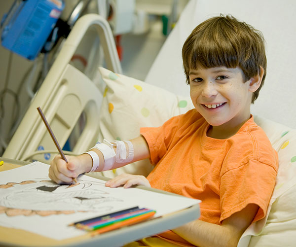 Boy in Hospital Painting